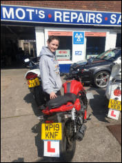 CBT Certificate - Lauren passing on a bike supplied by Anderson & Wall